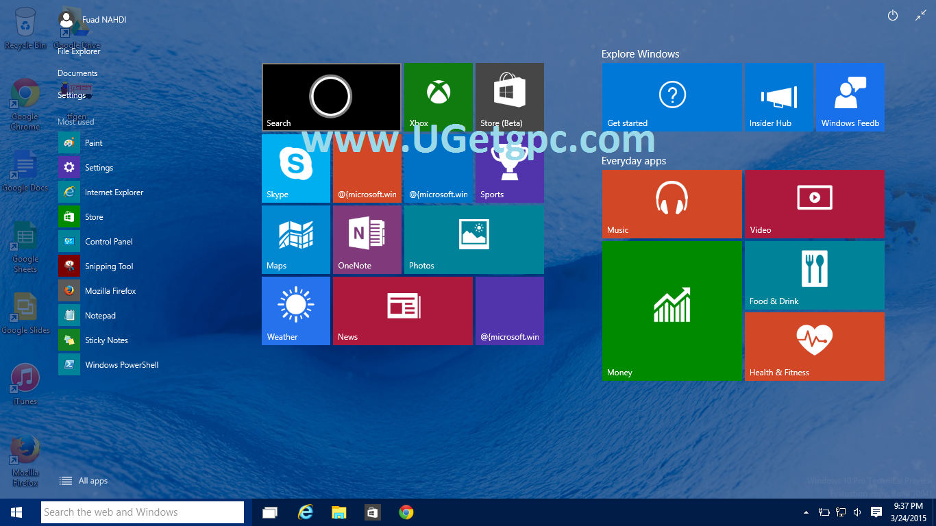 Windows 10 Pro -menu-UGetpc