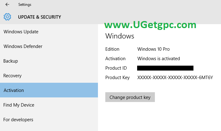 Windows 10 Pro -setting-UGetpc